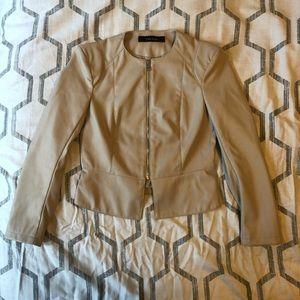 [Zara] Tan Leather Jacket
